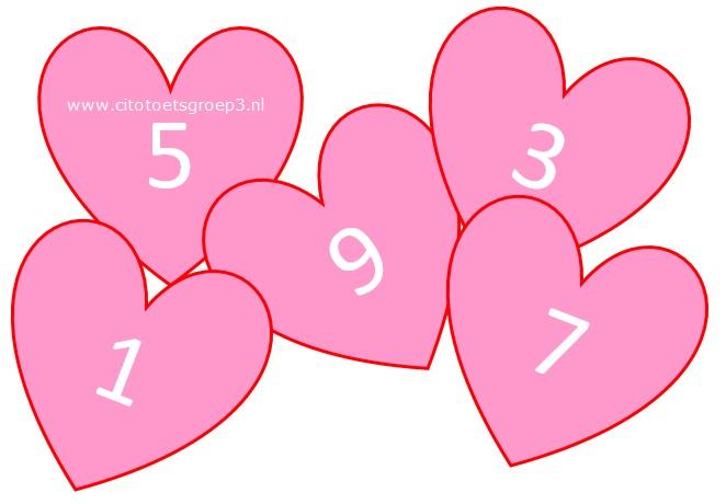 Verliefde harten bij splitsen in groep 3.